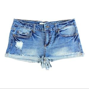 Blue Asphalt Distressed Midi Rise Blue Jean Shorts